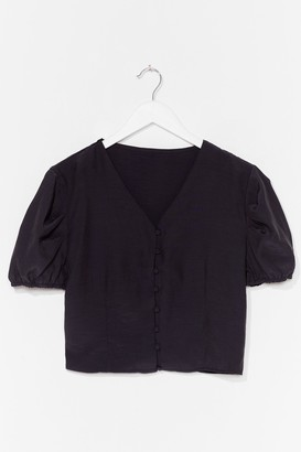 Nasty Gal Womens Hit My Buttons Cropped Blouse - Black - 8