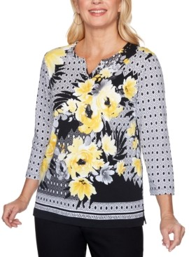 Alfred Dunner Riverside Drive Split-Neck Mixed-Print Top