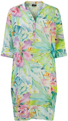 Nologo Chic Florida Print Linen Tunic Dress