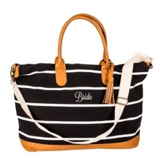 Cathy's Concepts Bride Striped Weekender Tote