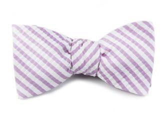 Tie Bar Silk Seersucker Stripe Orchid Bow Tie