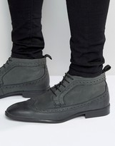 Asos Brogue Chukka Boots in Gray Leather