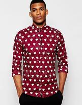Vito Shirt With Heart Print In Slim Fit - Red