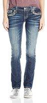 Miss Me Junior's Embellished Border Flap Pocket Straight Leg Jean