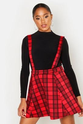 boohoo Tartan Check Pinafore Skirt
