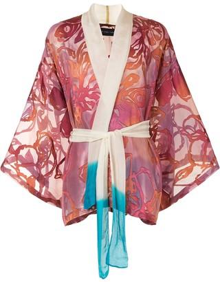 Lisa Von Tang Tie-Waist Patterned Jacket