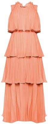 True Decadence Dusty Peach Tiered Pleated Maxi Dress