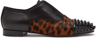 Christian Louboutin Alphagirl Leather And Calf-hair Loafers - Womens - Leopard
