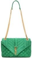 Saint Laurent Monogram Medium Tri-quilt Slouchy Suede Shoulder Bag