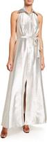 Theia Metallic A-Line Halter Gown