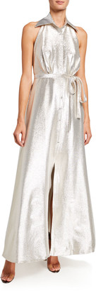 Theia Metallic A-Line Halter Gown