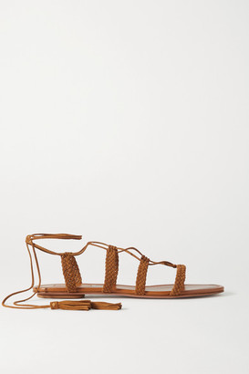 Aquazzura Stromboli Braided Suede Sandals - Tan