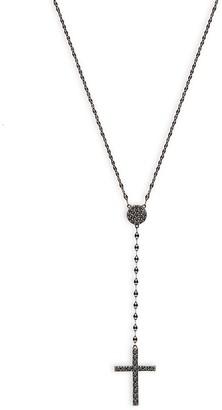 Lana 14K Black Gold Black Diamond Cross Pendant Necklace