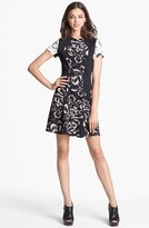 Rebecca Taylor 'Artisanal Blocked' Print Silk A-Line Dress