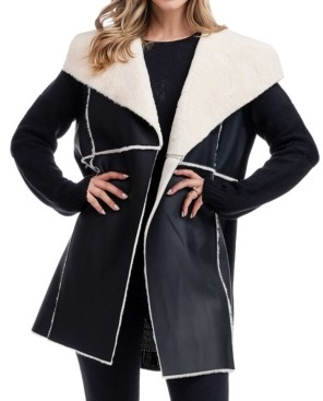 Fever Faux Leather Sweater Jacket