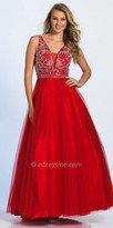 Dave and Johnny Paisley Beaded Plunging Ball Gown