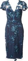 Marchesa floral lace midi dress - women - Nylon - 0