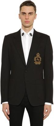 Dolce & Gabbana Wool Blend Jersey Jacket W/ Embroidery