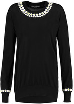 Dolce & Gabbana Appliquéd cashmere and cotton-blend jersey sweater