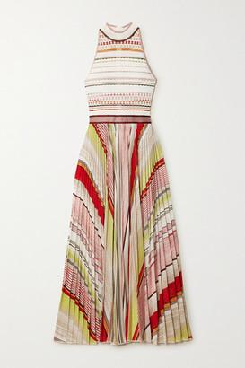 Missoni Pleated Striped Metallic Crochet-knit Midi Dress - White
