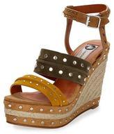 Lanvin Tricolor Suede Espadrille Sandal, Yellow