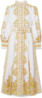 Zimmermann Super Eight Tubular Belted Button-detailed Floral-print Linen-gauze Maxi Dress