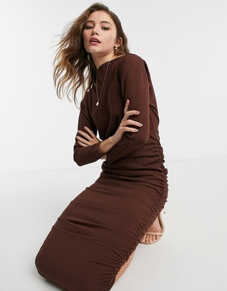 AX Paris ruched off shoulder midi pencil dress in chocolate