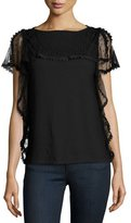 RED Valentino Short-Sleeve Point d'Esprit-Trim Top, Nero