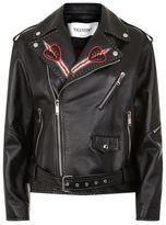 Valentino Love Blades Embroidered Leather Biker Jacket