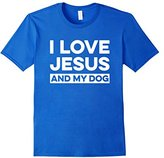 Mens I Love Jesus and My Dog T-Shirt Funny Christian Message 2XL