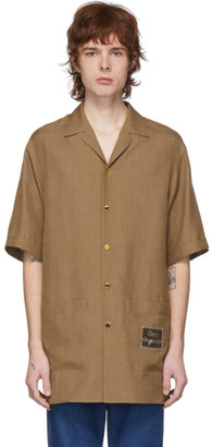 Gucci Brown Linen Orgasmique Short Sleeve Shirt