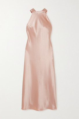 Galvan Sienna Satin Halterneck Midi Dress - Blush