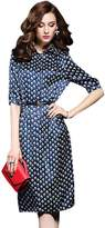 Jutao Women's Retro Half Sleeve A Line Tea Length Print Shirt Dress with Belt Dark Blue L