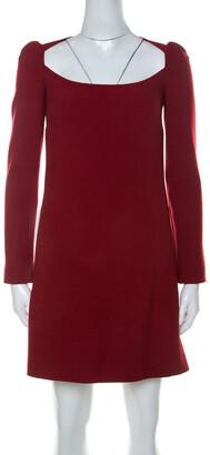 Dolce & Gabbana Red Wool Long Sleeve Shift Dress S