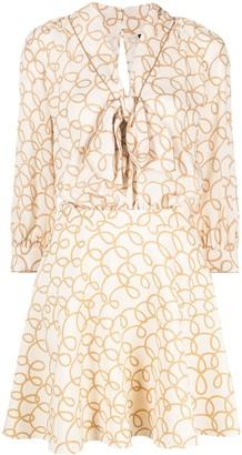 Elisabetta Franchi Graphic-Print Pussy Bow Dress