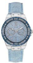 GUESS Silvertone Sparkle Denim Leather Strap Watch, U0775L1