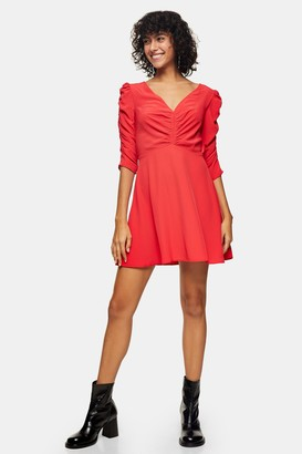 Topshop Womens Red Ruched Front Mini Dress - Red