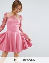 City Goddess Petite Lace Top Skater Dress