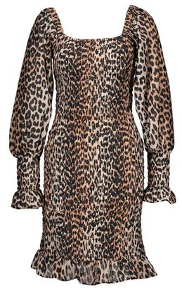 Ganni Short leopard-print dress