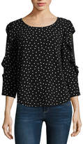 Almost Famous 3/4 Sleeve Scoop Neck Crepe Ruffled Blouse-Juniors