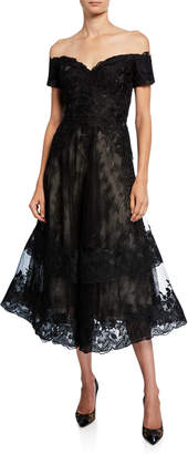 Rickie Freeman For Teri Jon Off-the-Shoulder Sweetheart Short-Sleeve Lace Overlay Illusion Dress