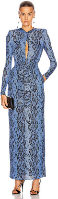 Dundas Long Sleeve Maxi Dress in Blue Python | FWRD