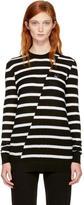 McQ Black and White Distort Stripe Swallow Badge Sweater