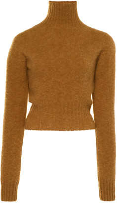 Victoria Beckham Cropped Seamless Wool Turtleneck