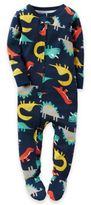 Carter's Zip-Front Dinosaur Footed Pajama in Blue
