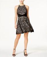 Xscape Evenings Laser-Cut Fit & Flare Halter Dress