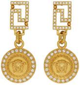 Versace Gold Crystal Medusa Drop Earrings