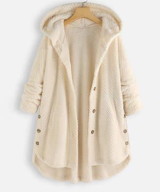 Off-White Cellabie CELLABIE Women's Anoraks & Parkas Off Button-Detail Chunky-Knit Hooded Cardigan - Women & Plus
