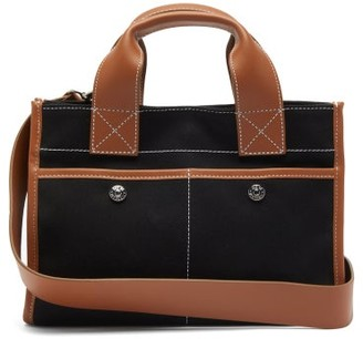 Rue De Verneuil - Reporter S Leather-trim Gabardine Tote Bag - Black Multi