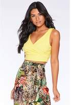 Quiz Yellow Wrap Crop Top